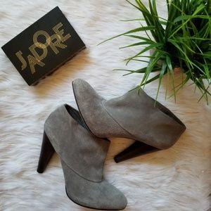 cole haan grey suede josephine ankle booties 9-1/2
